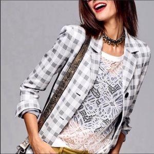 Cabi Grey Plaid Valentina Blazer Size 0 NWOT